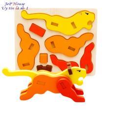 Con sư tử săn mồi đồ chơi ghép hình gỗ 3D cho bé