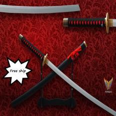Đồ cosplay Katana chuôi đen đỏ lưỡi bạc