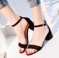 Giày Sandal cao gót quai ngang nhung 5P-Camlyn