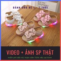 Dép sandal công chúa màu hồng có đèn led nhập nháy, gắn nơ kép xinh xắn cho bé gái từ 1-6 tuổi