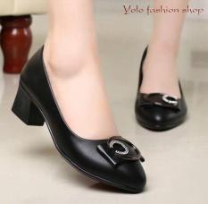 [Hình thật] M20 Giày cao gót nữ da lì đế 4cm siêu mềm êm chân