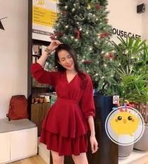 Đầm Jumpsuit đỏ 2 tầng cột nơ