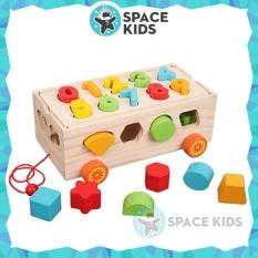 Đồ chơi gỗ thông minh Space Kids Ô tô thả hình khối và lắp ghép số cho bé vui chơi, học tập, chất liệu gỗ tự nhiên