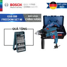Bộ máy khoan động lực Bosch GSB 550 FREEDOM SET 90 chi tiết + Bộ mũi vặn vít Bosch 25 món (xanh dương)