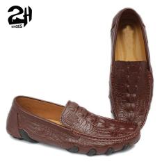 giày mọi lười nam da bò nguyên tấm đế cao su bạch tuộc phong cách, chống hôi chân, êm chân SHOES 2H size 38 – 43, Đen và Nâu 2H – 71