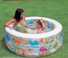 Bể bơi phao tắm cho bé hình đại dương INTEX 58480, hồ bơi trẻ em bơm hơi tiện dụng, có 3 tầng, hình tròn, phù hợp cho 2 – 3 bé cùng tắm – Chính hãng INTEX 152*56(cm)