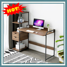 Bàn để máy tính, bàn làm việc Bàn làm việc liền kệ sách có ngăn kéo M0073 ( KÍCH THƯỚC 122*40*110cm)