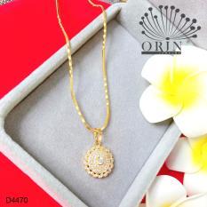 Dây chuyền mạ vàng 24k dạng mì xoắn mặt tròn nhụy đính đá thiết kế cao cấp Orin D4470