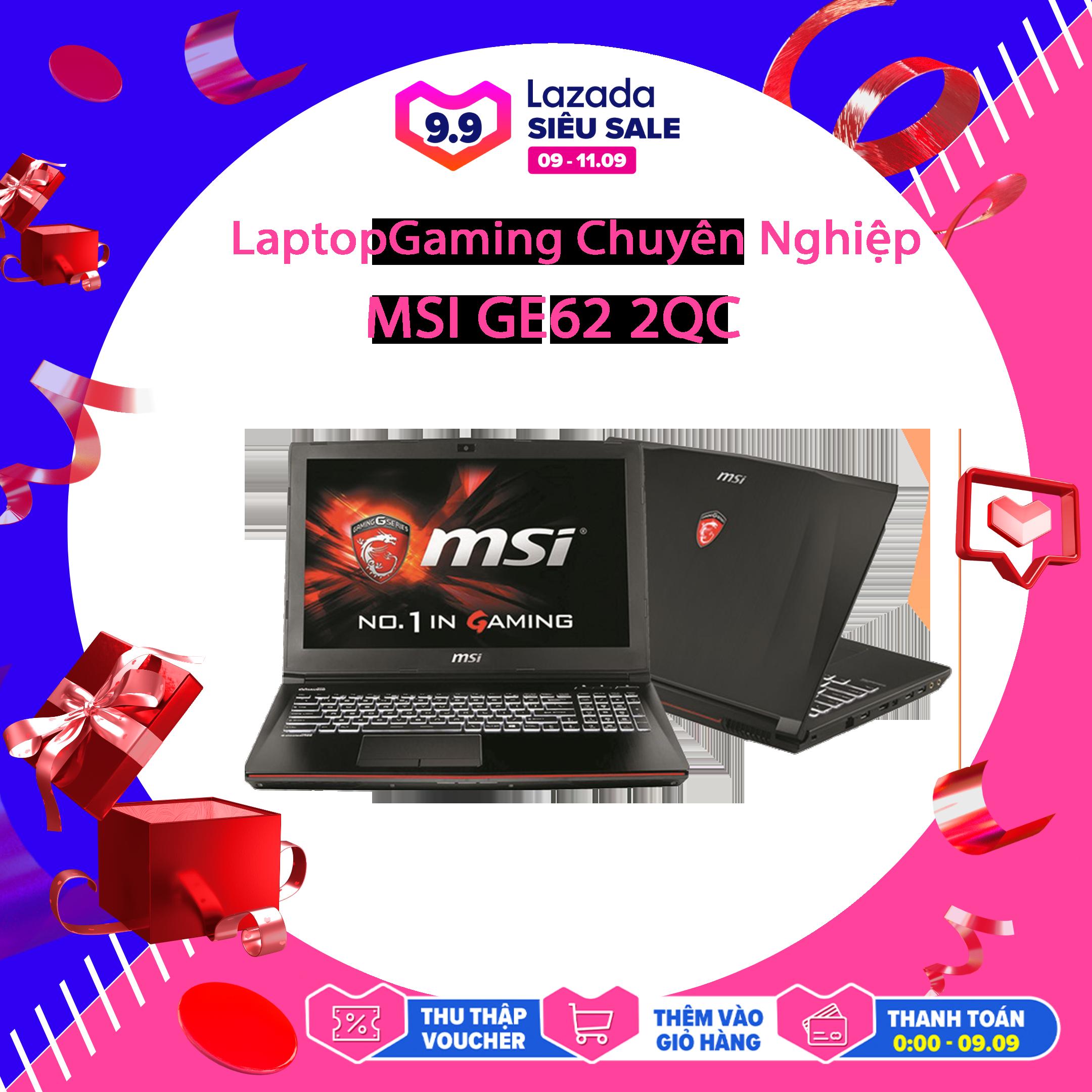 Latop Chơi Game Chuyên Nghiệp, Laptop Gaming MSI GE62 2QC, i5-4210H, HDD 1Tb, VGA Rời Nvidia GTX 960M-2G, Màn 15.6 FullHD, LaptopLC298