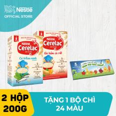 Combo 2 Hộp Bột Ăn Dặm Nestlé Cerelac Gà Hầm Và Cá Rau Xanh 200g/Hộp tặng bộ chì 24 màu
