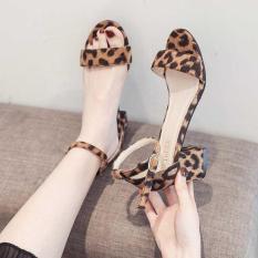 giày sandal cao gót họa tiết da báo