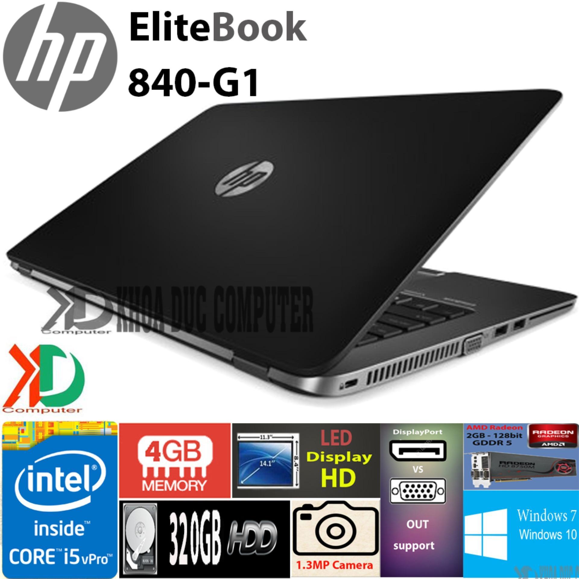 """Laptop HP EliteBook 840-G1 core i5-4300/ 4GB ram/320GB HDD/ 14"""" display HD vỏ nhôm, tặng túi, chuột không dây"""