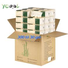 Thùng 30 gói giấy ăn gấu trúc Ycool khăn giấy tre gói 300 tờ 3 lớp siêu dai mềm mại