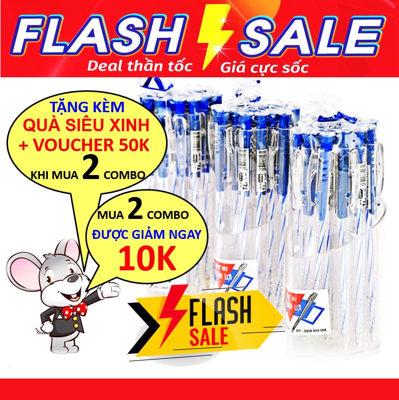 Combo 60 bút bi xanh nét thanh mảnh, bi trơn, đều mực (tặng kèm 3 lọ cắm bút) siêu tiết kiệm