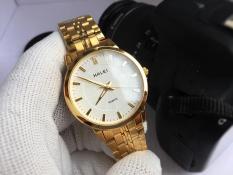 đồng hồ nam halei dây vàng mặt trắng HLDA552