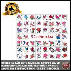 Combo 52 hình xăm dán tattoo và Combo 30 hình xăm dán tattoo 2D, 3D hình bông hoa, bướm…