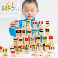 Cờ domino, đồ chơi xếp hình, ghép hình domino 100 quân cờ các nước bằng gỗ