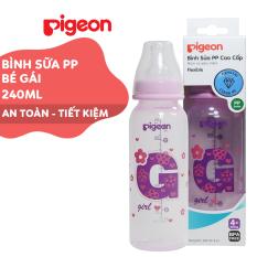 Bình sữa cổ hẹp PP cao cấp bé gái Pigeon 240ml (M)