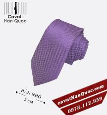 Cà vạt bản nhỏ sần tím nhạt