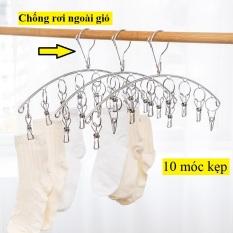 Móc treo phơi quần áo em bé, khăn tay, tất vớ, đồ lót – Móc Treo Phơi Đồ Inox Chống Rơi 10 Kẹp