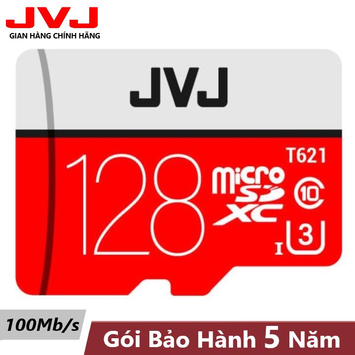 Thẻ nhớ 128Gb Class 10 U3 JVJ Pro MicroSDHC tốc độ cao 100Mb/s – chuyên dụng cho CAMERA wifi, camera hành trình, máy chơi game, điện thoại chất lượng hình ảnh 4k tặng kèm gói bảo hành 5 năm đổi mới trong vòng 7 ngày, thẻ 128Gb