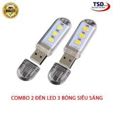 Combo 2 Đèn Led USB 3 Bóng Version 2019 – Đèn Led Siêu Sáng Hình USB