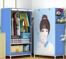 Tủ Vải Đựng Quần Áo Cao Cấp Kiểu Dáng 3D 1 Buồng 2 ngăn, Tủ Vải Khung Inox Treo Quần Áo Nhỏ Gọn Tiện Dụng