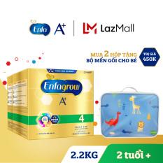 Bộ 2 hộp sữa bột Enfagrow A+ 4 2.2kg (4 túi thiếc 550g) – Tặng Bộ drap gối vải Thắng Lợi – Drap 1.6x 2m. 2 Gối 40×60 và 1 gối ôm (giao mẫu ngẫu nhiên)