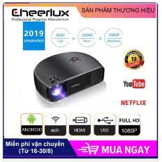 Máy chiếu projector Android 6.0 WIFI, Bluetooth Cheerlux CL760UP 2019, độ nét cao 150 inch hỗ trợ Full HD, Độ sáng 3600 Lumens, đèn LED 150W sáng rõ, kết nối không dây với điện thoại.