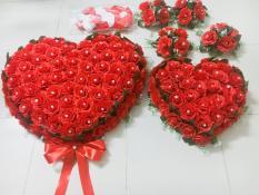 Bộ hoa cưới trang trí xe hơi mẫu hình trái tim SIÊU TO đế nam châm( hoa hồng đỏ), cam kết hình thật 100%