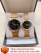 Cặp Đồng hồ đôi nam nữ BAISHUNS dây thép thời thượng có lịch ( BS3902 dây vàng mặt đen ) – TẶNG 1 vòng tỳ hưu phong thuỷ