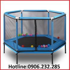 Nhà nhún lò xo lục giác 157x157x80cm, có lan can bảo vệ an toàn, chất liệu khung thép cứng cáp, Bạt nhún lò xo cho bé, hàng nhập khẩu – Bảo Hành 1 Năm
