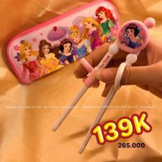 Đũa tập ăn kèm túi đựng hình công chúa bạch tuyết Snow White tròn nổi cho trẻ em hàng Disney – DP2100