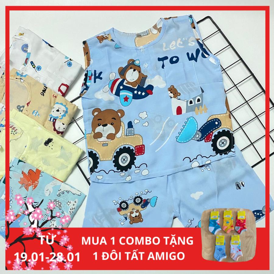 Combo 3 Bộ Quần Áo Trẻ Em – Đồ bộ cho bé trai Ba Lỗ TOLE 2 DA (Loại 1) Mùa Hè Mát, Mềm, Mịn Cho Bé Trai Từ 5-30kg