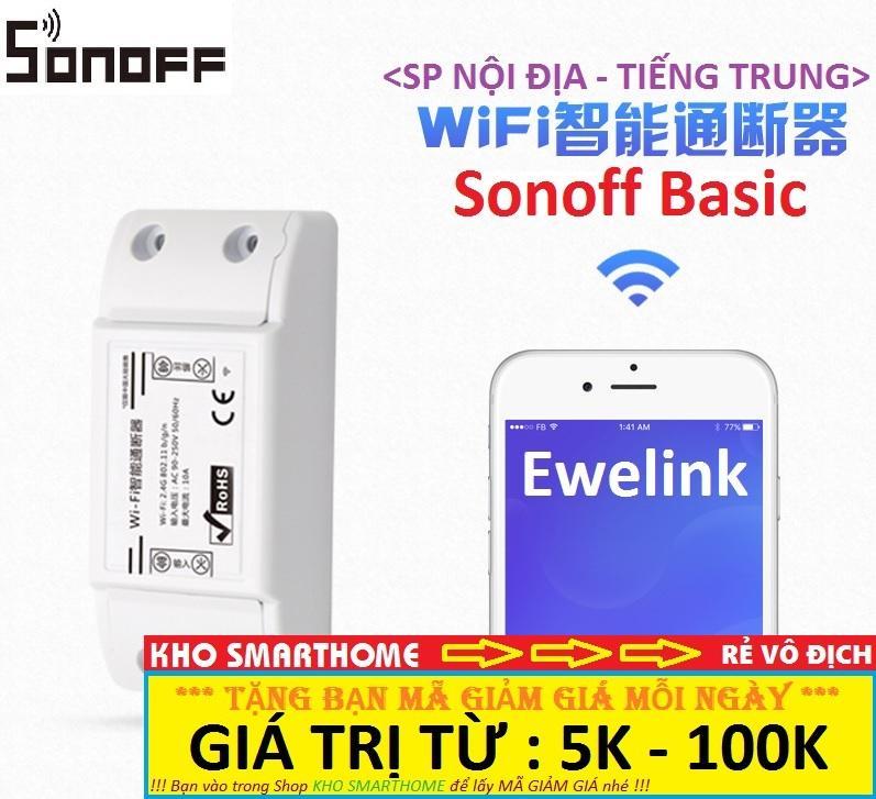 Công tắc thông minh Sonoff Basic (SP Nội Địa - Tiếng Trung) điều khiển từ xa qua WIFI, 3G, 4G