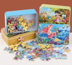 Combo 2 bộ đồ chơi tranh ghép hình 60 miếng kèm hộp thiếc cho bé