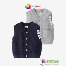 Áo ghi lê cho bé trai AZUNA WELLKIDS gile cài cúc lịch sự ấm áp hàng nhập khẩu