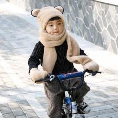 Mũ len liền khăn len quàng cổ kèm găng tay cho bé – Họa tiết tai gấu cute Hàn Quốc – Bao tay liền chống tuột