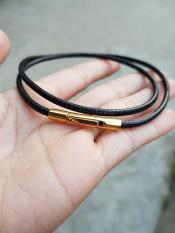 Dây da đeo cổ khóa vàng không rỉ, không đen