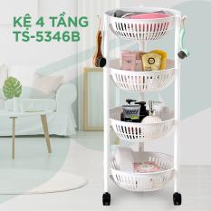 [Nhựa Tashuan] Kệ rổ tròn 4 tầng có bánh xe – Đài Loan
