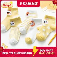 Combo 5 đôi tất lưới cổ thấp hình thú đủ màu sắc cho bé 1-8 tuổi chất cotton chống trơn trượt không gây hầm hơi Baby-S – ST016