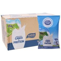 Thùng 48 bịch sữa tiệt trùng không đường Cô gái hà lan – Dutch Lady Canxi & Protein 220ml