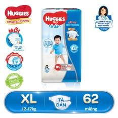[GIẢM ĐẾN 40K ĐƠN 399K] [Giảm ngay 30k đơn 399k] Tã/bỉm dán Huggies Dry Super Jumbo XL62(Đệm mây co giãn) – Gói 62 miếng – Cho bé 12-17kg