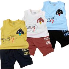 Combo 3 Bộ quần áo bé trai CREAM dễ thương, vải chất lượng 100% cotton co giãn 4 chiều, cho bé từ 8kg đến 23kg, mặc thoáng mát, dễ chịu cho bé (bộ nhiều màu).