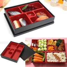 Hộp bento nhựa đựng cơm phần 4 ngăn màu đỏ đen kiểu Nhật Bản