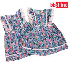 Đầm xòe cánh tiên cho bé gái 1-7 tuổi chất cotton nhẹ mát họa tiết hoa nhí màu sắc tươi tắn phối nơ ở eo đáng yêu BBShine – D065