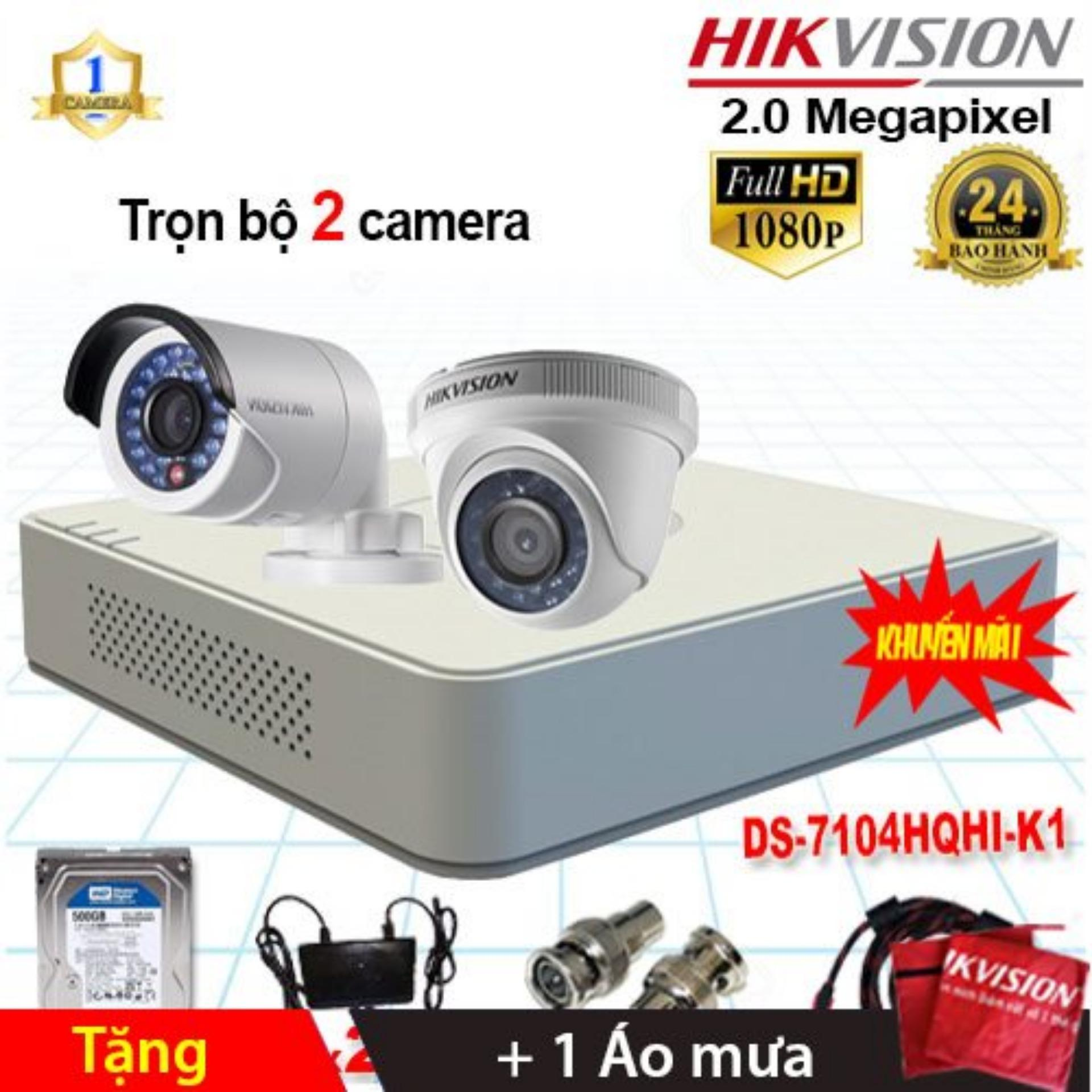 Trọn bộ 2 Camera Hikvision DS-2CE56D0T-IRP + DS-2CE16D0T-IR (2.0MP) + DS-7104HQHI-K1