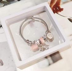 Vòng tay charm hoa anh đào và thủy tinh hồng [ hàng y hình hoàn tiền nếu không giống mô tả]