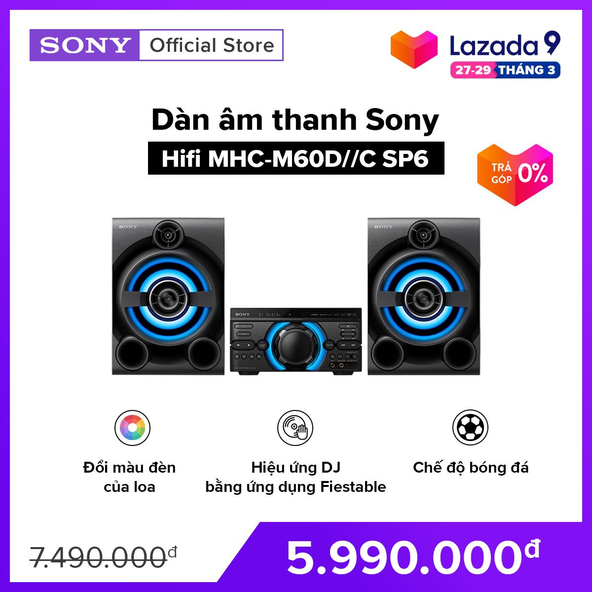 [VOUCHER 300K – HÀNG CHÍNH HÃNG – TRẢ GÓP 0%] Dàn âm thanh Sony Hifi MHC-M60D//C SP6 Điều khiển hiệu ứng DJ Chế độ bóng đá Đầu phát DVD tích hợp có ngõ ra HDMI