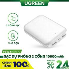 Pin sạc dự phòng 10000mAh 2 cổng UGREEN PB133 – Hỗ trợ sạc dùng lúc 2 thiết bị, công suất tối đa 5V/2.1A, hỗ trợ sạc vào input qua cổng Micro USB hoặc USB-C